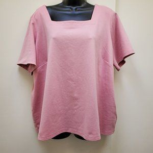 Loose fit pink top with square neck Sz. 2